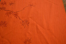 Japanese Vintage Silk Orange with embossed Pine Needles and Branches 650