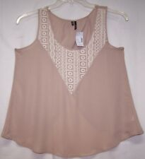 NEW Maurices Sz M Top Tan with Embroidered Lace Insert Open Criss Cross Back