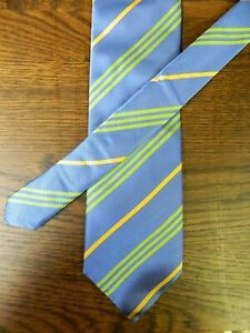 "Eaton Tie Men's Tie 100% Silk 60"" Blue /Green & Gold Stripes NWOT S-#85"