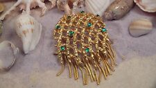 Hattie Carnegie Green Cabochon MASSIVE Brooch, with Fringe