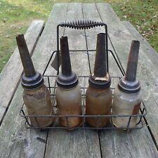 Vintage Glass Motor Oil Bottles and Wire Carry Rack, Milk Bottle Rack