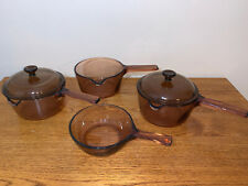 6 Piece Corning Visionware Amber Lot 1 L & .5 L with (2) Lids