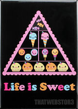 Bored Inc. Life Is Sweet Food Pyramid Refrigerator Magnet ~ Licensed ~ Gag gift