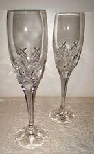TOWLE LEAD CRYSTAL FLUTE CHAMPAGNE GLASSES: SET OF 2 IN BLOOMINGDALE BOX WEDDING