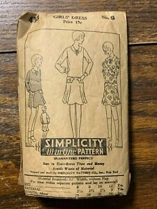 Vintage Simplicity Sewing Pattern 432 Girl's Art Deco Dress size 8 Complete