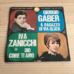 """Giorgio Gaber / Zanicchi_Il Ragazzo di Via Gluck_Vinile 45giri 6"""" Tascabile 1966"""