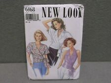 NEW LOOK PATTERN 6068 UNCUT 2000s Miss Size 6-16 V NECK WRAP BLOUSE 3 Styles