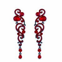 Luxury Bridal Earrings Chandelier Rhinestone Crystal Earrings Red Long Earrings