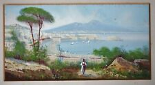 M. Gianni signed watercolour painting of Naples Bay & Mt Vesuvius,  early 1900's