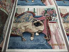 "Tapestry Siamese Cat Fabric Pillow panels 3 per 54"" x 18"" free shipping"