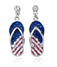 4th of July USA American Flag Patriotic Dangle Flip Flop Sandal Post Earrings e