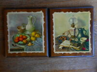 Pictures set of 2 Vintage D.A.C., NY 1960's 1970's Kitchen scenes Kitschy 8 x 8