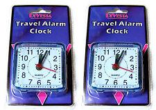 2 x SMALL LITTLE QUARTZ CLOCK TRAVEL ALARM CLOCKS - AA BATTERY OPERATED