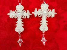 Lot 2- 7.5 L In X 4 In White Glitter Christian Cross Christmas Tree Ornament