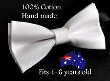 Boy Kids Baby 100% Cotton Matte WHITE Bow Tie Bowtie Party Wedding 1-6 Years Old