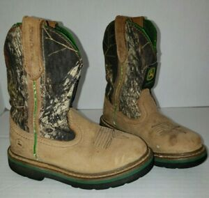 Boys Toddler John Deere Boots Pull On Leather Camo Size 11M
