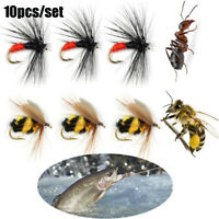 10Pcs Artificial Portable Bionic Bait  Ant Insect Crank Fly Trout Fishing LY`US