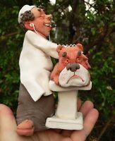 Veterinary Vet & Dog Pottery Figurine, Animal Pet Doctor Puppy Collar Leash Bone