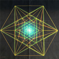"""Colorful Crystal Grid Cloth 100% Cotton Sacred Geometry  Healing 18""""x18"""""""