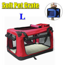 Pet Soft Crate Portable Dog Cat Carrier Travel Cage Kennel Foldable Large - Red