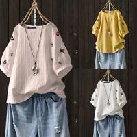 Mode Femme T-shirt Haut Broderie florale DeManche 100% coton Col Rond Plus