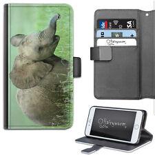 Bebé Elefante Funda para Teléfono,Cuero Artificial Lado Teléfono con Tapa Apple