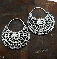 Silver Mandala Earrings Ethnic Statement Hoop Earrings Tribal Sunburst Filigree