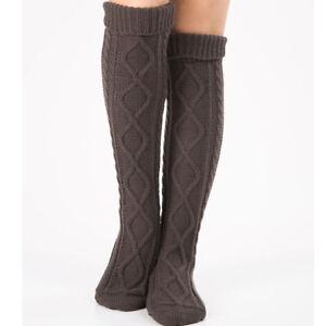 Ladies Winter Warm Leg Sleeves Over the Knee Knitted Rhombus Floor Socks