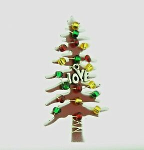 Artisan Christmas Tree Pin with Love Charm 2.5 In