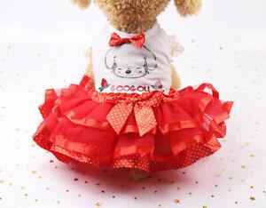 Cute Pet Puppy Small Dog Lace Princess Tutu Dress Skirt Clothes Apparel Costume