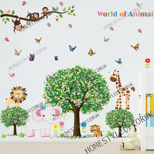 Jungle Safari Animal Monkey Tree Wall Sticker Art Decal Children Kids Room Decor