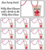 1 Bride to Be Willy Shot Glass & 13 Hen Party/do Willy shot Glasses Hen Night