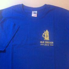 OLD CHICAGO OKTOBERFEST Tee T shirt Size Large Solid Blue NEW Beer Brat Pretzel