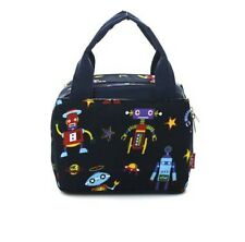 Robot Planet Outer Space Ship Stars School Boys Insulated Lunch Box Bag Navy