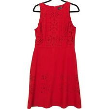 Tahari Arthur S Levine Red sleeveless fit flare dress 10