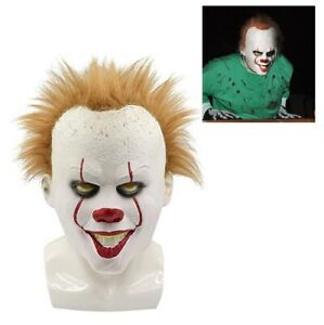 Adult Pennywise IT Clown Mask Deluxe Latex Over Head Halloween Horror Mask Face