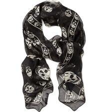 Foulard ALEXANDER MCQUEEN Nero Bianco Teschio 100% Seta Chiffon Black Silk Skull