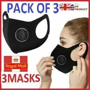 Pack of 3 Reusable Washable Breathable Valve Face Mask Black  3X Masks -UK STOCK