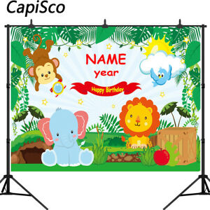 Jungle Safari 1 Birthday Party Backgrounds Animals Forest Photography Backdrops