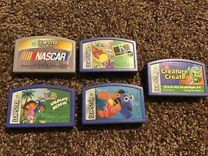 LeapFrog Leapster Game Lot Of 5 Cartridges NASCAR Dora Nemo Kindergarten Create
