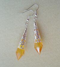 Art Deco Orange Faceted Teardrop Silver Lace Filigree Drop Earrings in Gift Bag