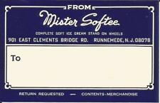 Mail tag-MISTER SOFTEE,Runnymeade,NJ.Soft Ice Cream Stand on Wheels = melaneybuy
