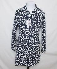 NWT Womens $120 Waterproof Navy White Eva Floral Rain Trench Coat Plus 2XL