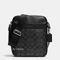 New Men Coach F54788 Signature Flight Bag Messenger Shoulder Bag Charcoal Black