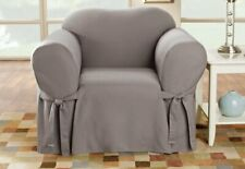 Sure Fit Essential Twill Straight Skirt One Piece Chair Slipcover GRAY