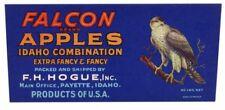 FALCON Brand, Emmett, Idaho Bird Apple *AN ORIGINAL FRUIT CRATE LABEL* no border
