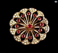 Adorable Vintage 10K Brooch with Floral Design, Ruby & Baby Pearl 3.50 Grams