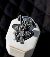 GRIM REAPER Biker ring with M-16 Sterling Silver
