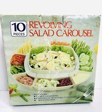 Vintage Revolving Salad Appetizer Carousel Lazy Susan 10 Pieces Boxed