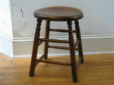 "CHESTNUT STOOL very solid  18-3/4"" high & 14"" diameter seat very good condition"